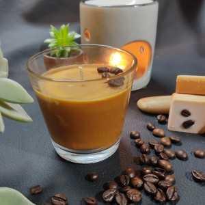 Bougie Cognac Café 100gr - Verre 75x75 - Cire de Soja et Parfum de Grasse