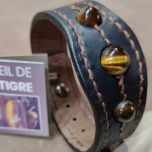 Bracelet TanTal All Tiger - Cuir et Perles d'Œil de Tigre naturelles