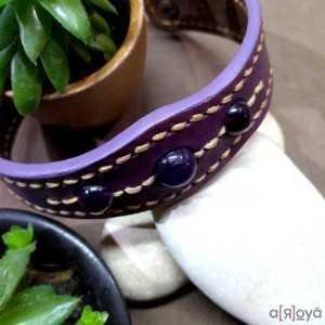 Bracelet TanTal Améthyste - Cuir et pierres naturelles