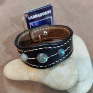 Bracelet Tantal Labradorite - Bracelet en cuir fait main